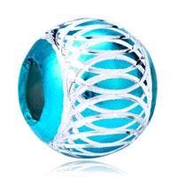 Charms Beads - blue topaz enamel white stripes aluminum bead designer charm bracelet Image.