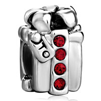 Charms Beads - silver plated red crystal s box european bead charms bracelets Image.