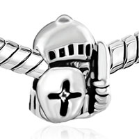 Charms Beads - silver plated jewelry knight shield european bead charms bracelets Image.