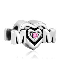 Mother Daughter Charms Pink Crystal Mom Heart Charm Bracelet Bead