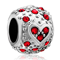 Charms Beads - bling garnet red swarovski crystal heart charm bracelet charm bracelet Image.
