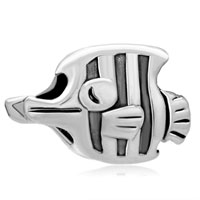 Charms Beads - silver plated jewelry beak fish european bead charms bracelets Image.