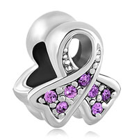 Charms Beads - breast cancer charm awareness ribbon june birthstone purple crystal Image.