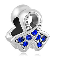 Charms Beads - breast cancer awareness ribbon sep birthstone sapphire blue crystal Image.
