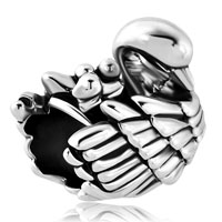 Italian Charms - mom and three baby child swan family love animal charm for bracelets Image.