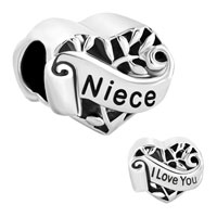 Italian Charms - family tree of life hollow heart love niece fit murano glass loose beads all brands Image.