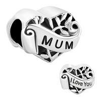 Italian Charms - family tree of life hollow heart love mum mom fit murano glass loose beads all brands Image.