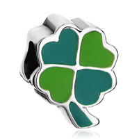 Charms Beads - silver fourleaf clover green yellow european bead charms bracelets Image.
