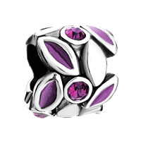 Charms Beads - purple petal february births amethyst crystal round beads charms Image.