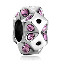 Charms Beads - round metal square violet rhinestone crystal beads charms bracelets Image.