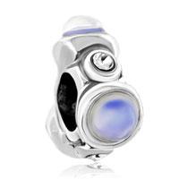 Charms Beads - irregular white cat charm bracelet eye clear rhinestone crystal Image.