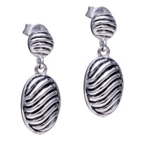 Sterling Silver Jewelry - fashion 925  sterling silver oval swirled worm dangle earrings Image.