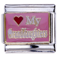 Italian Charms - phrase my granddaughters family charms italian charm Image.