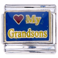 Italian Charms - phrase my grandsons family charms italian charm Image.