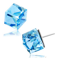 Earrings - classic birthstone aquamarine blue asscher cut cubic zirconia cube 925  sterling silver stud earrings Image.