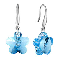 Sterling Silver Jewelry - aquamarine flower crystal 925  sterling silver dangle glam earrings Image.