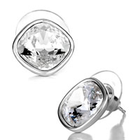 Earrings - april birthstone clear swarovski crystal stud earrings Image.