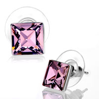 Earrings - february birthstone light amethyst swarovski crystal stud earrings Image.