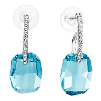Earrings - clear crystal march birthstone aquamarine stud gift dangle earrings Image.