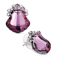 Earrings - shell clear light amethyst crystal february birthstone swarovski stud gift earrings Image.
