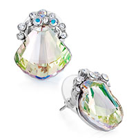 Earrings - shell clear crystal aurore boreale detailed jonquil swarovski stud gift earrings Image.