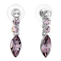 Earrings - chain light amethyt crystal round february birthstone amethyst swarovski oval stud gift dangle earrings Image.