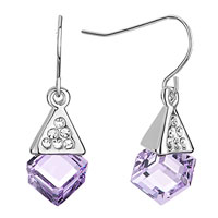 Earrings - silver pyramid clear crystal light tanzanite swarovski cube dangle gift earrings Image.