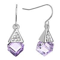 Earrings - silver pyramid clear crystal light tanzanite swarovski cube dangle gift earrings Image.