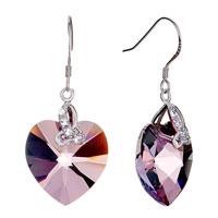 Earrings - february birthstone swarovski purple crystal heart dangle gift earrings Image.