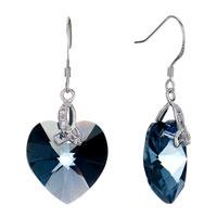 Earrings - beautiful march birthstone aquamarine swarovski crystal heart dangle gift earrings Image.