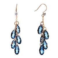 Earrings - march birthstone swarovski aquamarine crystal pave teardrops dangle gift earrings Image.