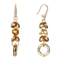 Earrings - november birthstone swarovski topaz cluster hoop dangle gift crystal earrings Image.