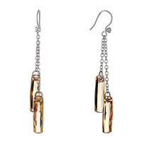 Earrings - beautiful november birthstone topaz swarovski crystal bar dangle gift earrings Image.
