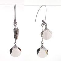 Earrings - double gray swarovski crystal fan dangle gift earrings Image.