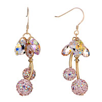 Earrings - april birthstone swarovski clear crystal heart drop cluster pink cherry dangle earrings Image.