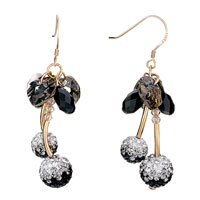 Earrings - black crystal heart drop cluster cherry ball dangle hook earrings Image.