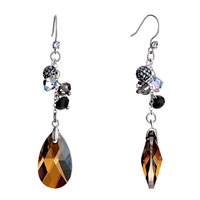 Earrings - ball smoked topaz swarovski crystal drop dangle gift earrings Image.