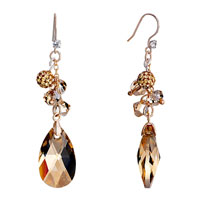 Earrings - ball november birthstone swarovski topaz drop dangle gift earrings Image.