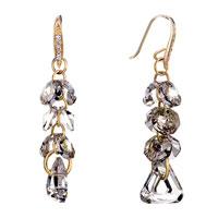 Earrings - gray swarovski crystal cluster triangle dangle gift earrings Image.