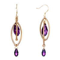 Earrings - double golden oval dangle february birthstone swarovski purple crystal pave teardrop earrings Image.