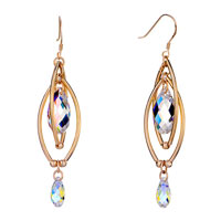 Earrings - double golden oval dangle big small color light swarovski crystal pave teardrop earrings Image.