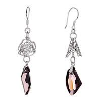 Earrings - double hollow flower february birthstone swarovski purlple crystal utopian drop dangle earrings Image.