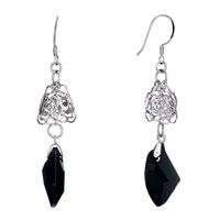 Earrings - double hollow flower black swarovski crystal utopian drop dangle earrings Image.