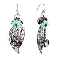 Earrings - pacific opal flower gray hollow leaf dangle crystal heart earrings Image.