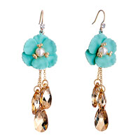 Earrings - aquamarine flower pearl november birthstone swarovski topaz crystal drop dangle gift earrings Image.