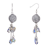 Earrings - ball april birthstone swarovski clear crystal pave teardrop heart dangle earrings Image.