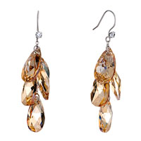 Earrings - november birthstone swarovski topaz crystal drop dangle gift earrings Image.
