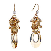 Earrings - november birthstone swarovski topaz crystal cluster oval hollow dangle earrings Image.