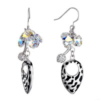 Earrings - april birthstone clear crystal cluster ball oval dangle earrings Image.