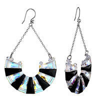 Earrings - black color light swarovski crystal half circle formed ladders dangle earrings Image.